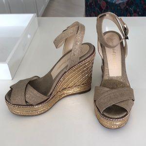 Shoes - Jean-Michel Cazabat gold wedges! Soooo flattering!